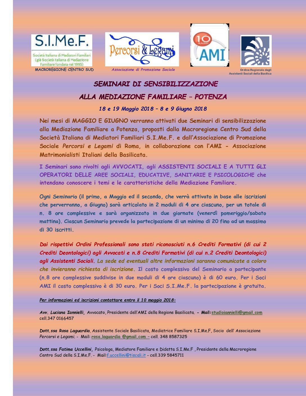 Seminari di sensibilizzazione a Potenza